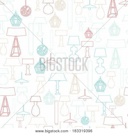 Seamless Line art pattern of household lamps, floor decoration for banners, site background.