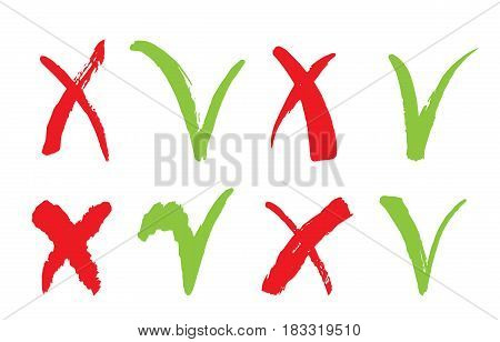 Check marks icons. Red cross and tick grunge set for web sites. Right and Wrong signs isolated on white background vector hand drawn ink illustration. Yes and No symbols.