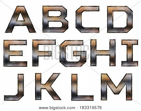Retro Metallic Alphabet Set