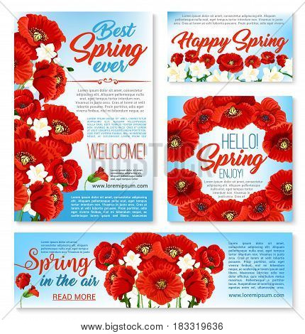 Hello spring springtime floral banners. Spring flower greeting card with poppy wreath, festive poster and invitation flyer with floral border of crocus and poppy flowers. Spring holidays design