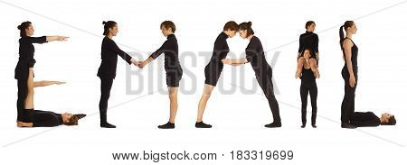 Black dressed people forming word EMAIL on white background