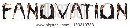 Black dressed people forming word FANOVATION on white background
