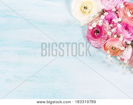 Beautiful Flower Frame Bouquet On Turquoise