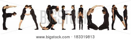 Black dressed people forming word FASHION on white background