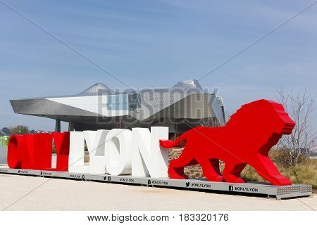 Lyon, France - March 15, 2017: The Musee des Confluences with only Lyon symbol in foreground. The Musee des Confluences is a science centre and anthropology museum opened in 2014 in Lyon, France