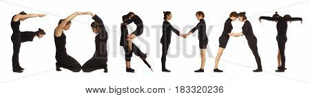 Black dressed people forming word FORMAT on white background