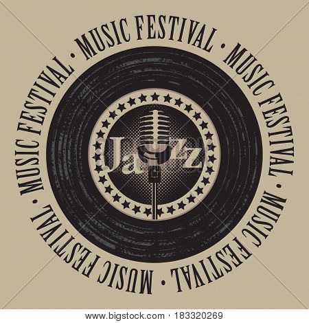 vector banner with a vinyl record microphone inscription jazz and the words music festival written around