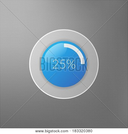 25 percent pie chart icon. Percentage vector infographics. Circle diagram symbol isolated on dotted background. Blue white and grey business illustration