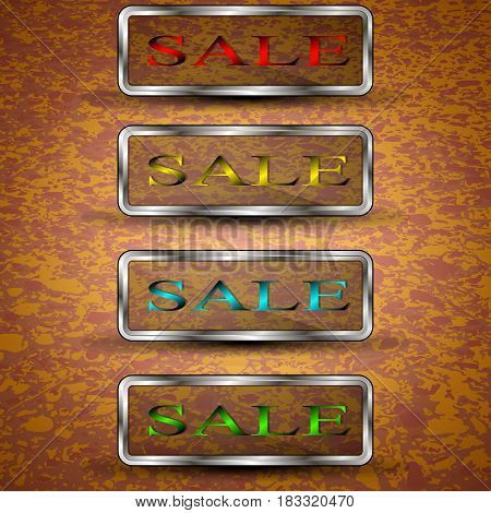 Set of vector illustrations of the different colored sale buttons.