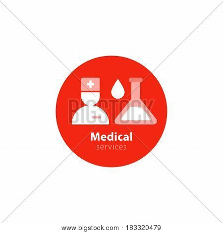 Health care and medicine services and analysis icon and logo. Flat design vector illustration