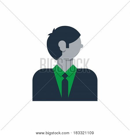 Male character turned head, middle age man, business and finance expert, office clerk, bold in glasses. Flat design vector illustration