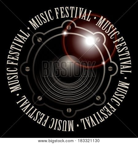 vector banner with a acoustic loudspeaker and the words music festival written around