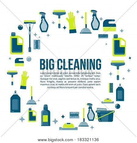 Vector cleaning items banner in flat style with spray bottle, bucket, mop and household supplies. Sanitary and desinfection.