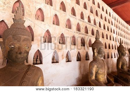 Vientiane Laos. November 22 2016 Vat Sisaket temple with a lot of buddha statues inside