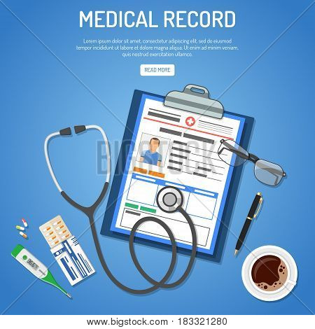 Medical record concept with flat icons card of patient, stethoscope, thermometer and pills. isolated vector illustration