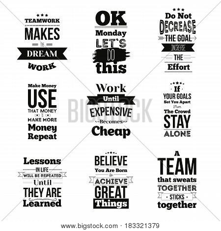 Set of Inspirational quotes about work and team vector design isolated on white background. Can be used on t-shirts, pictures, posters for wall.
