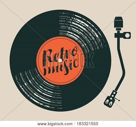 Vector poster for the retro music with vinyl record record player and handwriting lettering