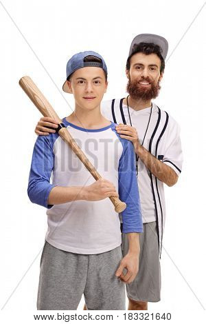 Baseball coach with a teenage player isolated on white background