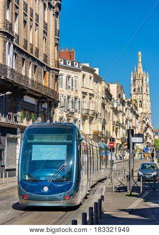 City tram on Cours Pasteur street in Bordeaux - France
