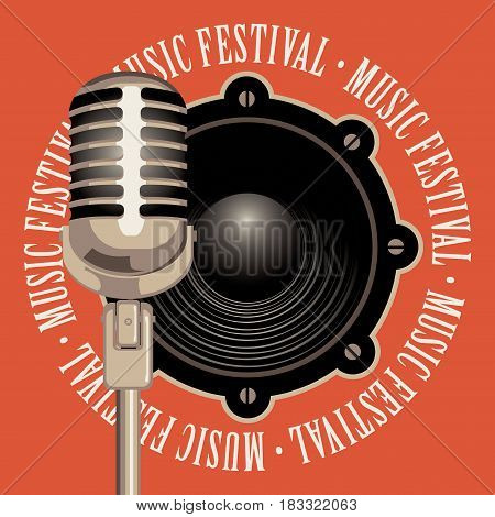 vector banner with a acoustic speaker microphone and the words music festival written around on red background