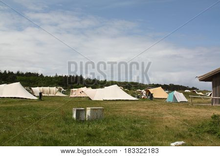Vlieland. May-15-2016. Tents in a camping on the island Vlieland. The Netherlands