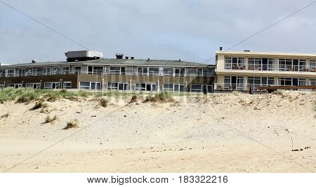 Vlieland.May-15-2016. Hotel on the beach of the island Vlieland. The Netherlands