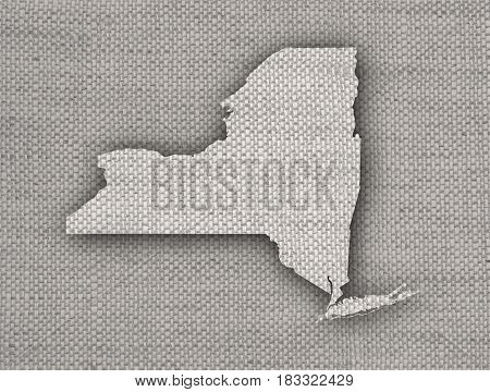 Map Of New Yorkon Old Linen