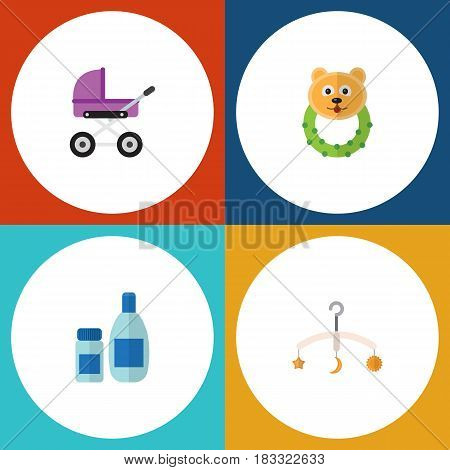 Flat Baby Set Of Cream With Lotion, Rattle, Stroller And Other Vector Objects. Also Includes Bear, Cream, Mobile Elements.