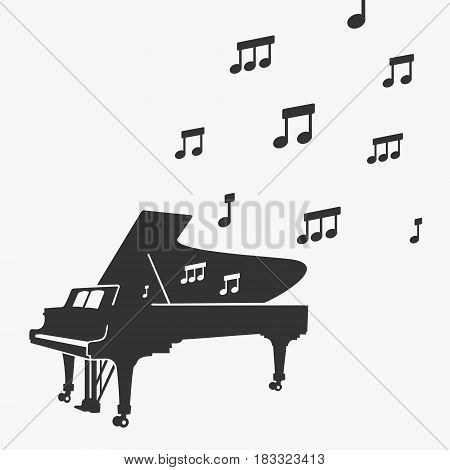 Piano Silhouette and Notes Vector Illustration eps 8 file format