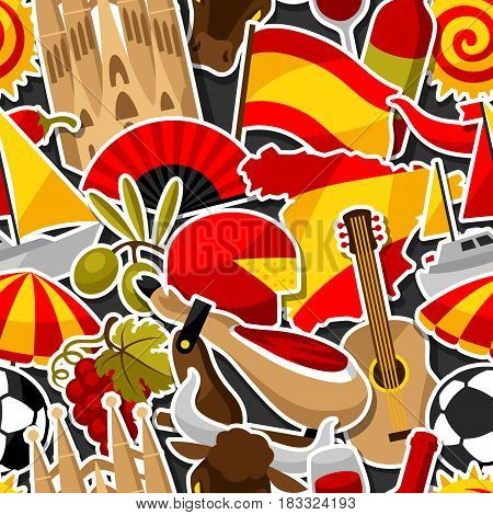 Spain seamless pattern. Spanish traditional sticker symbols and objects.