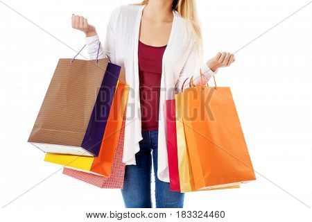 Beauty hhopping woman holding bags