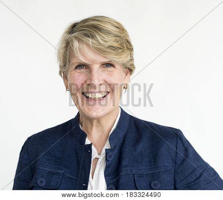 Blonde woman smiling positive portrait