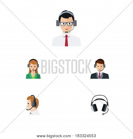 Flat Center Set Of Help, Earphone, Secretary And Other Vector Objects. Also Includes Telemarketing, Operator, Earphone Elements.