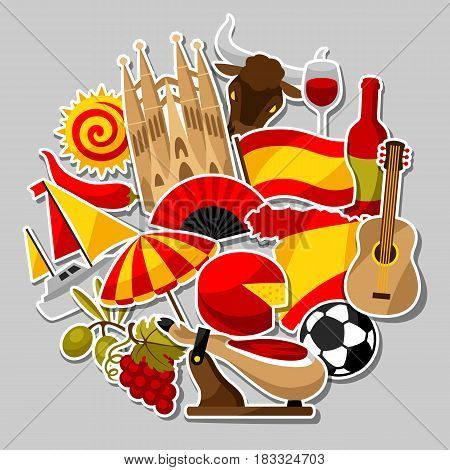 Spain background design. Spanish traditional sticker symbols and objects.