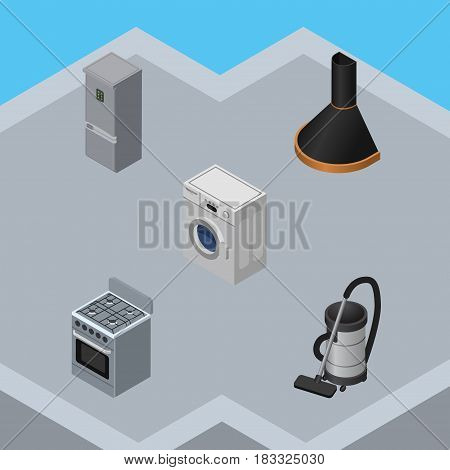 Isometric Appliance Set Of Kitchen Fridge, Laundry, Vac And Other Vector Objects. Also Includes Machine, Refrigerator, Cleaner Elements.