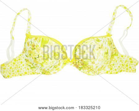 women yellow brassiere underwear cloth accessory isolated