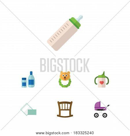 Flat Child Set Of Cream With Lotion, Stroller, Feeder And Other Vector Objects. Also Includes Cream, Pram, Bed Elements.