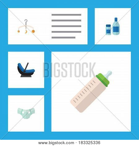 Flat Baby Set Of Mobile, Pram, Cream With Lotion And Other Vector Objects. Also Includes Baby, Cream, Cosmetics Elements.