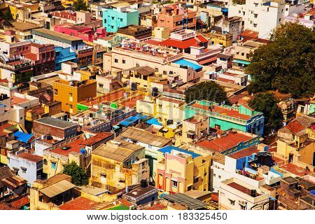 Colored Traditional Houses In India.