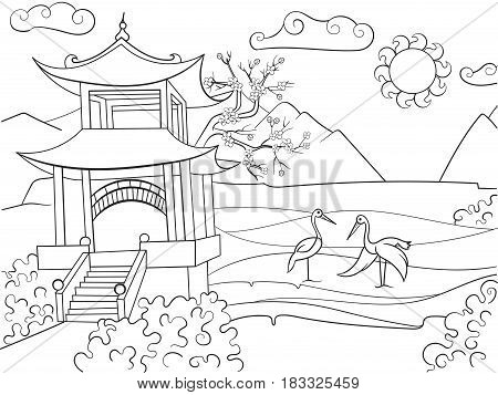 Nature of Japan coloring book for children cartoon vector illustration. Zentangle style. Black and white