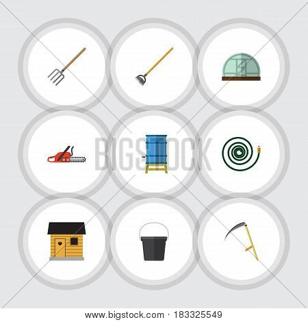 Flat Dacha Set Of Stabling, Hay Fork, Tool And Other Vector Objects. Also Includes Farm, Hoe, Gardening Elements.