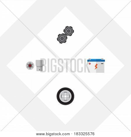 Flat Service Set Of Accumulator, Turnscrew, Tire And Other Vector Objects. Also Includes Turnscrew, Screwdriver, Star Elements.