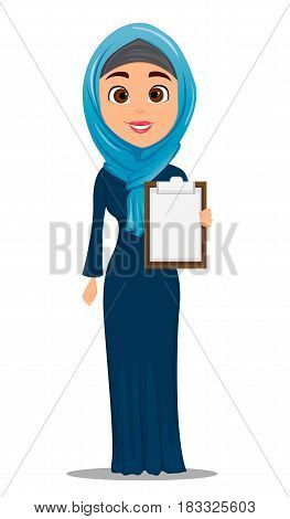 Arabic woman holding blank clipboard. Cute businesswoman cartoon character. Stock vector