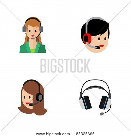 Flat Center Set Of Service, Earphone, Secretary And Other Vector Objects. Also Includes Call, Human, Center Elements.