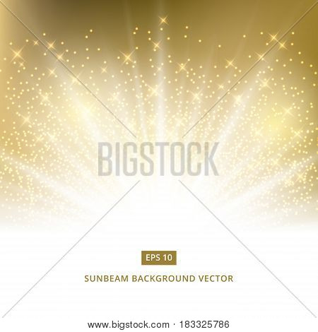 golden background sunbeam with gold glitter vector copyspace