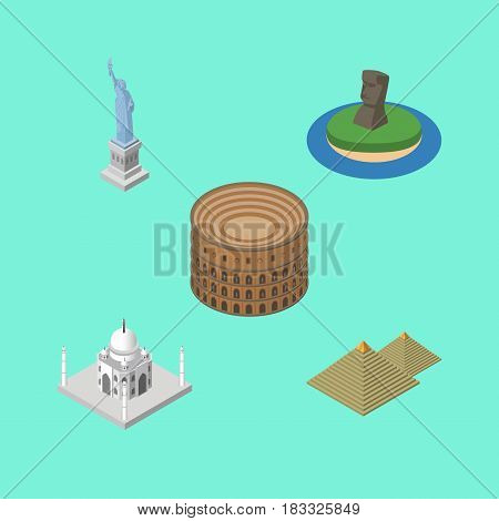 Isometric Architecture Set Of Egypt, India Mosque, Coliseum And Other Vector Objects. Also Includes Mosque, Coliseum, Liberty Elements.