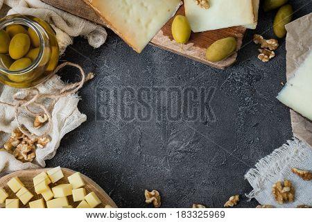 Cheese Platter Of Different Types Of Hard Cheese (swedish, Spanish Manchego, Italian Pecorino Toscan