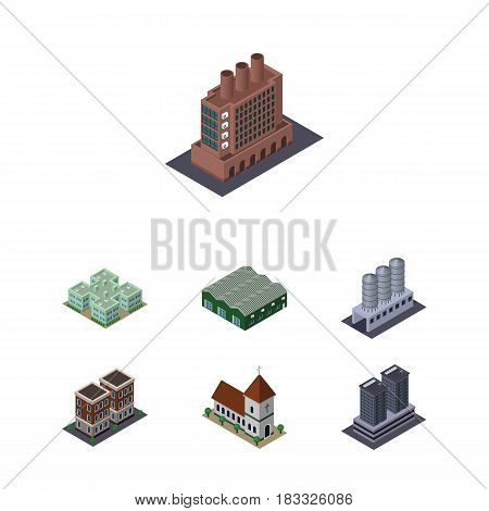 Isometric Architecture Set Of House, Clinic, Warehouse And Other Vector Objects. Also Includes Factory, Chapel, Storage Elements.