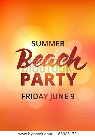 Beach party typography with hand drawn brush lettering. Summer background, beach party poster template. EPS10 vector illustration.