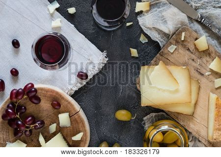 Cheese Platter Of Chopped Spanish Hard Cheese Manchego And Sliced Italian Pecorino Toscano On Wooden